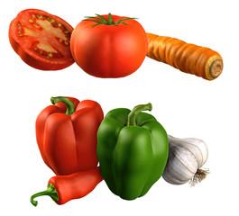 Gemüse-Sammlung / Paprika, Tomate, Karotte, Knoblauch, Chili