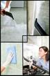Collage of woman washing a bathroom