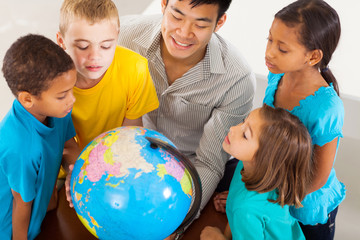 group of students with teacher looking at the globe