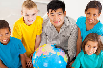 geography teacher with group of primary students