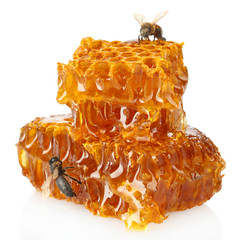 sweet honeycomb with honey and bee, isolated on white