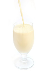 pouring soybean milk to wine glass