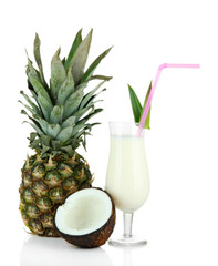 Pina colada drink in cocktail glass, isolated on white