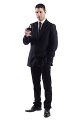 Man holding a red glass of fine wine