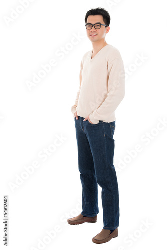 Front view full body casual Asian man
