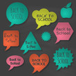 Back to school speech bubbles. Vector illustration