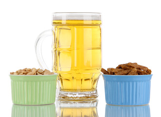 Beer in glass,croutons.and nuts isolated on white
