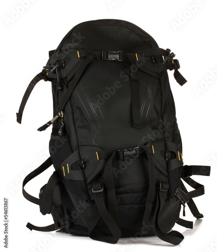 Black backpack, isolated on white