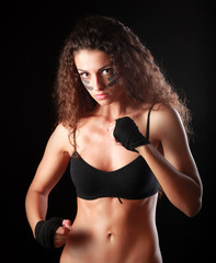 Portrait of young beautiful fitness woman