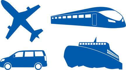 旅行交通機関シルエット