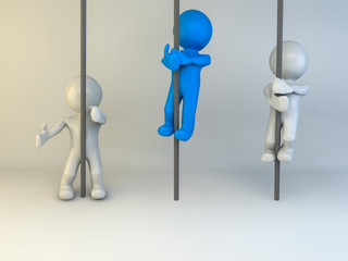 3D man climbing up