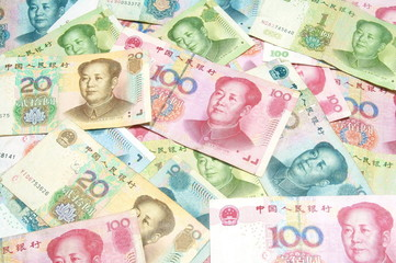 colorful China money bills