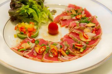 Tuna Sashimi made in Italian style cusine.