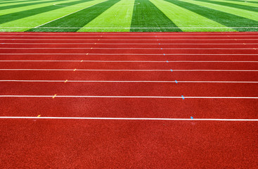 sideview of a red running track