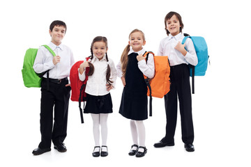 Children with backpacks - back to school theme