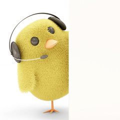 Little Chicken on Headphones with Blank Board