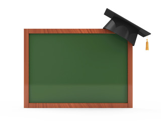 Green chalkboard with Graduation Cap on white background