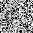 Black and white geometric flowers seamless pattern, vector