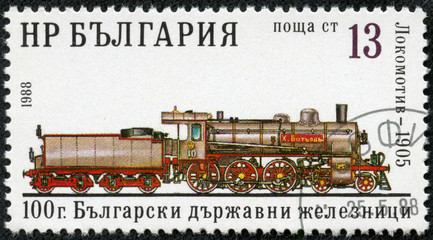 Stamp printed in the Bulgaria shows antique locomotive