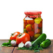 canned vegetables and fresh isolated