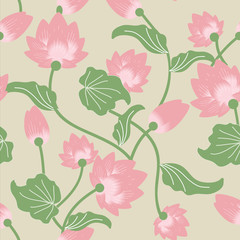 lotus pattern, seamless, wallpaper