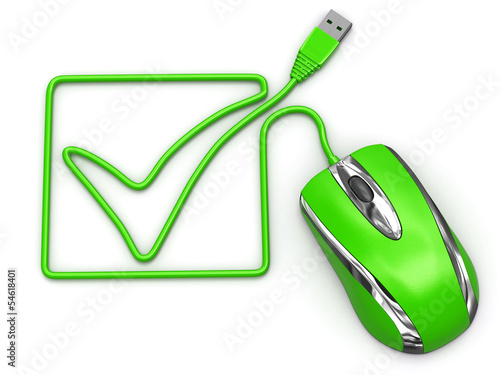 Online checklist. Computer mouse on white isolated background