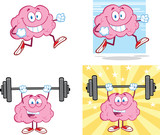 Brain Cartoon Mascot Collection 14
