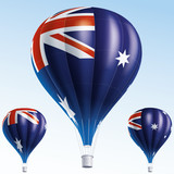 Vector illustration of hot air balloons as Australia flag