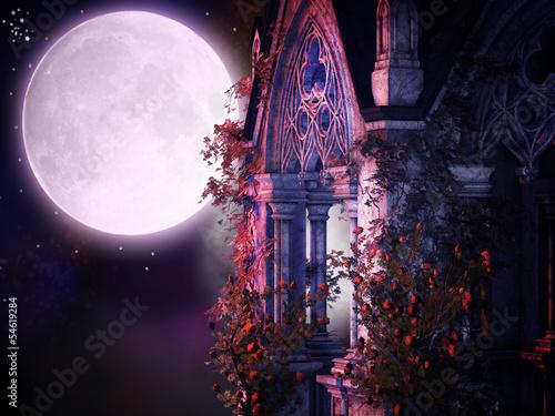 Foto Spatwand Begraafplaats magical gothic night