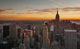 Midtown Manhattan skyline at sunset