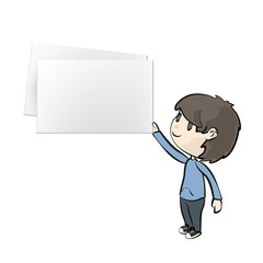 Kid holding a business card. Vector design