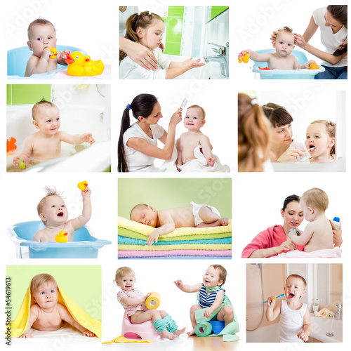 Collection of babies or kids at bath-time. Hygiene concept for l