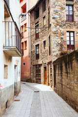 narrow street of old Catalan town