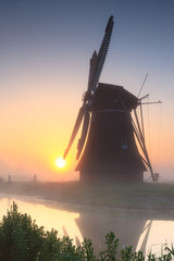 Dutch windmill sunrise