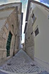 edifici in centro storico ad Ascoli Piceno - fish eye