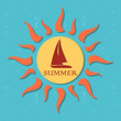 retro summer label with sun, rays and boat