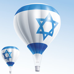 Vector illustration of hot air balloons as Israel flag