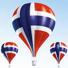 Vector illustration of hot air balloons as Norway flag