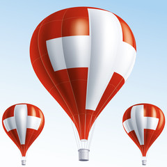 Vector illustration of hot air balloons as Switzerland flag