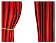 Roter Vorhang mit goldenem Band