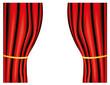 Rote Vorhänge mit goldenem Band