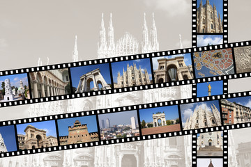 Milan travel memories - photo film strips
