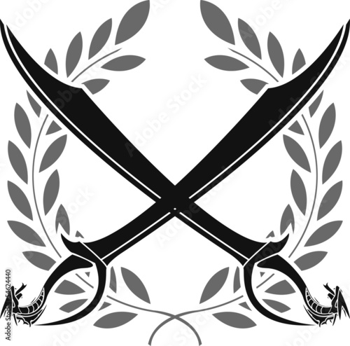 dragon sabers and laurel wreath  stencil