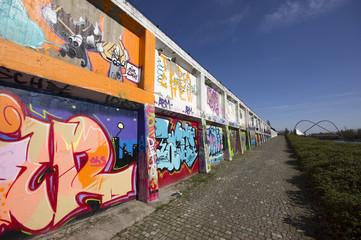 Graffitiwand im Nordsternpark Gelsenkirchen, NRW