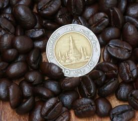 10 baht coin(Thai money) and coffee beans