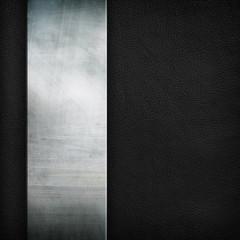 metal plate on black leather