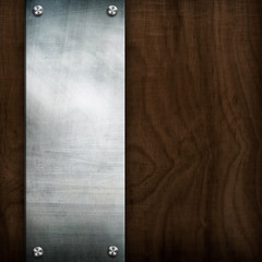 metal on wooden background