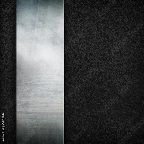 metal plate on black leather