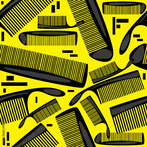 seamless pattern combs on yellow background