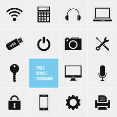 Tools Devices and Technology Vector Icons Set
